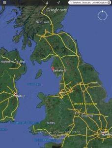 Sellafield map with Dublin, Scotland, London