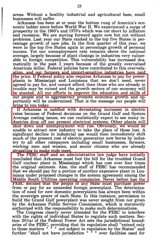 Grand Gulf Nuclear Sm Bus hearings Bill Clinton, p. 19