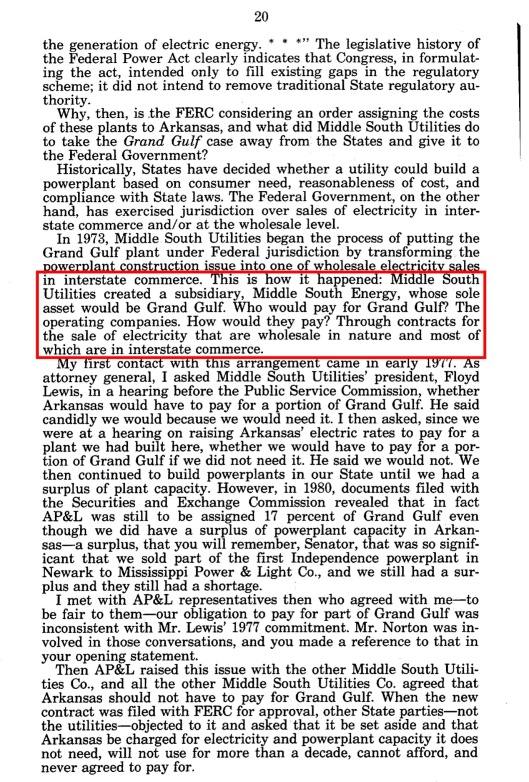 Grand Gulf Nuclear Sm Bus hearings Bill Clinton, p 20