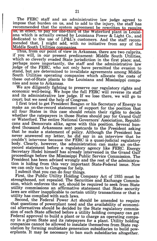 Grand Gulf Nuclear Sm Bus hearings Bill Clinton, p. 21
