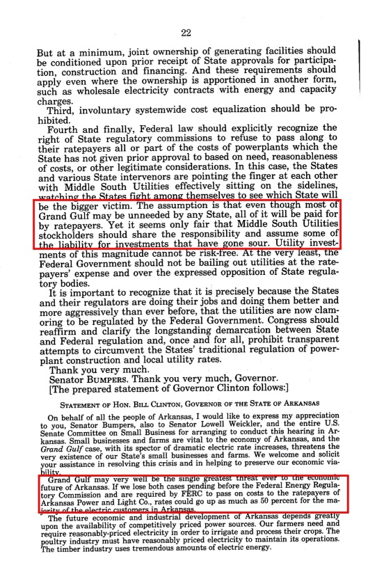 Grand Gulf Nuclear Sm Bus hearings Bill Clinton, p. 22