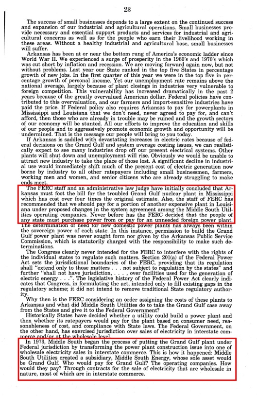 Grand Gulf Nuclear Sm Bus hearings Bill Clinton, p. 23