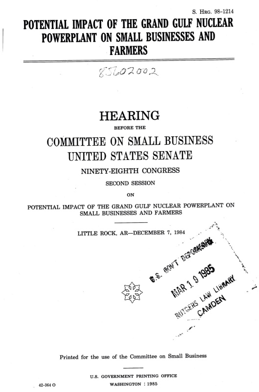 Grand Gulf Nuclear Sm Bus hearings Bill Clinton, cover