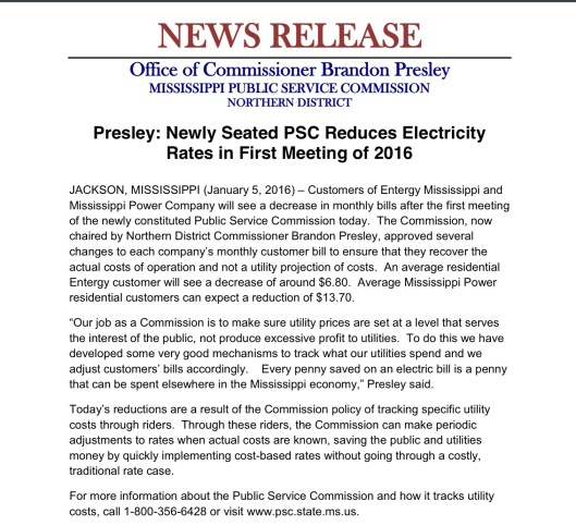 Presley press release Jan 2016