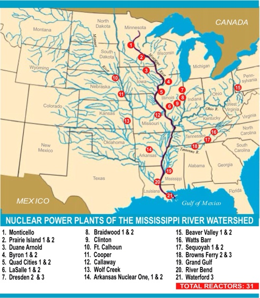 Nuclear Reactor Map RADIOACTIVE RELEASES FROM THE NUCLEAR POWER PLANTS OF THE MISSISSIPPI RIVER WATERSHED