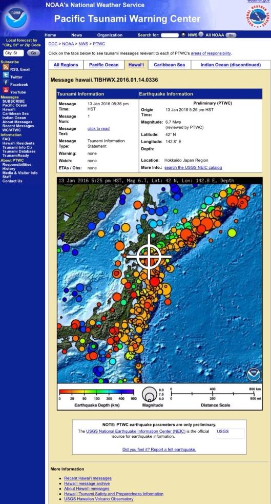 Japan 6.7 quake 14 Jan 2016