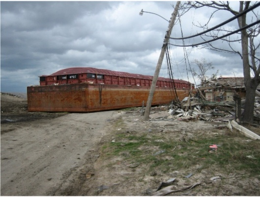 New Orleans, barge in Lower 9th Ward, Photo by Infrogmation, December 2005