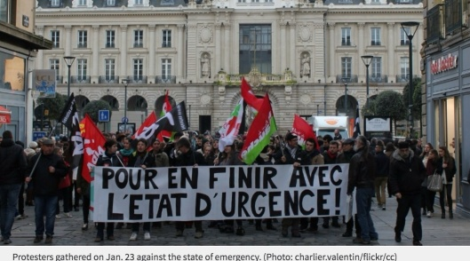 Protesters gathered on Jan. 23 against the state of emergency. charlier.valentin/flickr/cc