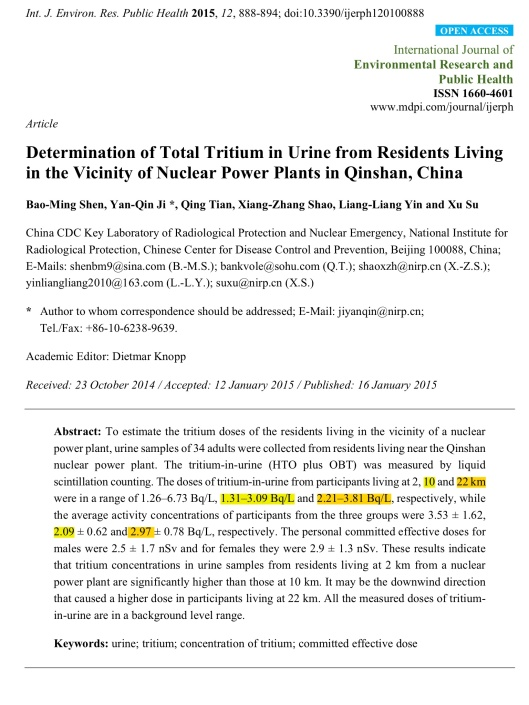 Determination of Total Tritium in Urine from Residents Living in the Vicinity of Nuclear Power Plants in Qinshan, China , Bao-Ming Shen, et.al., p. 1