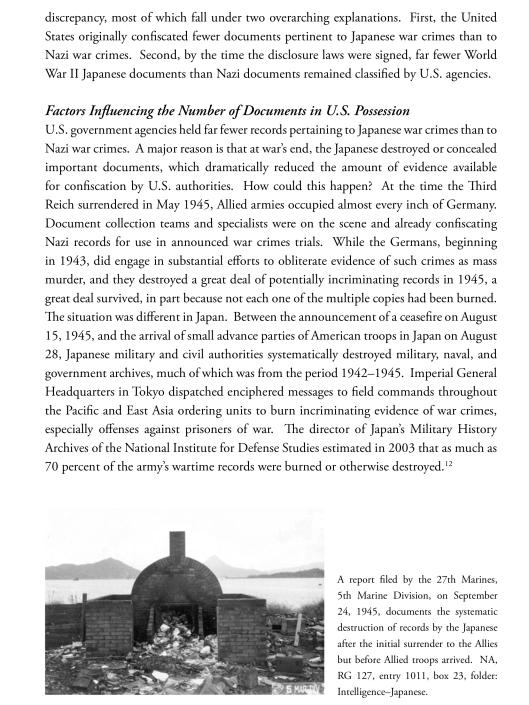 NARA Japan Document destruction post WWII
