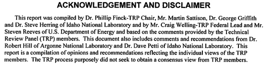 "Idaho National Lab Conflict of Interest, p. 20   ""Advanced Reactor Concepts"", Technical Review Panel, Public Reports, Oct. 2014"