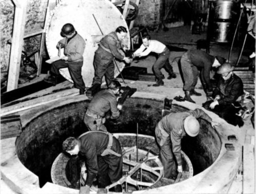 Dismantling the German Nuclear Reactor (Pile) at Haigerloch, 50 km SW of Stuttgart, in April 1945