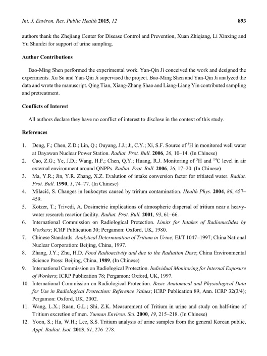 Determination of Total Tritium in Urine from Residents Living in the Vicinity of Nuclear Power Plants in Qinshan, China , Bao-Ming Shen, et.al., p. 6