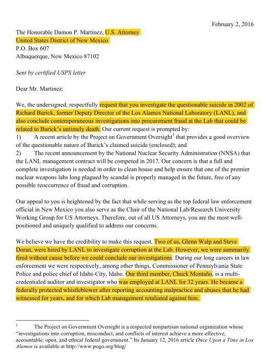 Feb. 2 Letter to US Atty re LANL suicide corruption