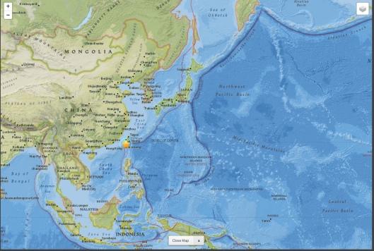 Taiwan 6.4 M 2016-02-05 19:57:27 (UTC) regional map fault