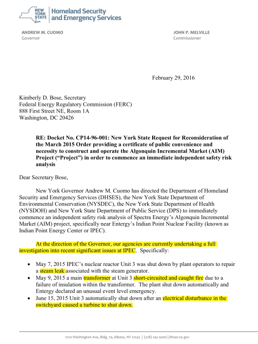 Docket No. CP14-96-001: New York State To FERC 29 Feb 2016, p. 1