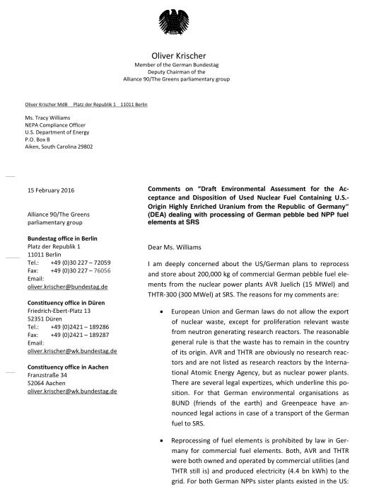 Oliver Krischer letter to DOE