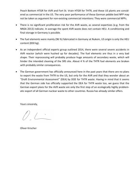 Oliver Krischer letter to DOE p. 2