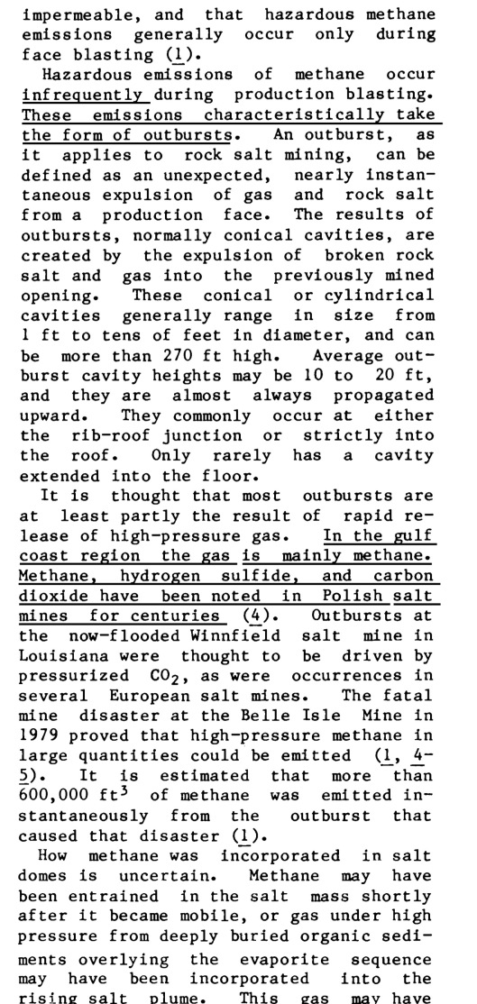 INVESTIGATION OF METHANE OCCURRENCE AND OUTBURSTS IN THE COTE BLANCHE DOMAL SALT MINE, LOUISIANA, By Gregory Molinda Bureau of Mines Report of Investigations 1988  Intro 2a