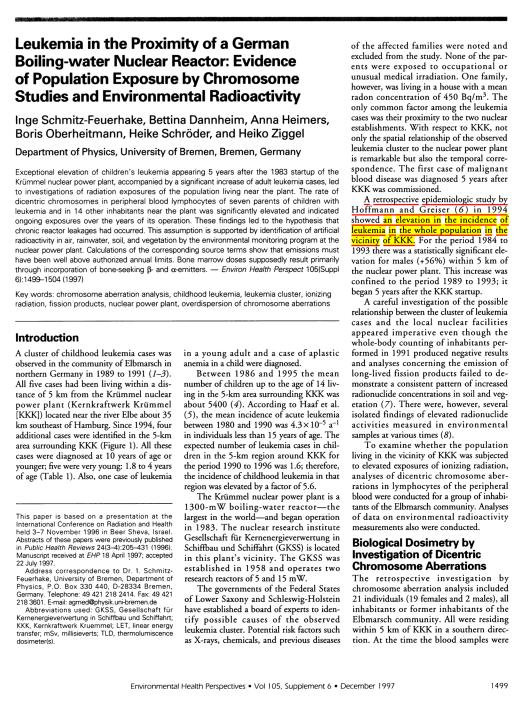 Leukemia Chromosomes Schmitz-Feuerhake et. al.  EHP v. 105 Dec. 97, p. 1
