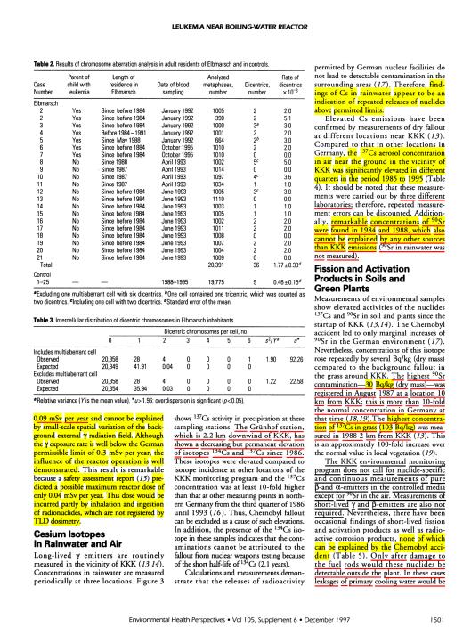 Leukemia Chromosomes Schmitz-Feuerhake et. al.  EHP v. 105 Dec. 97, p. 3