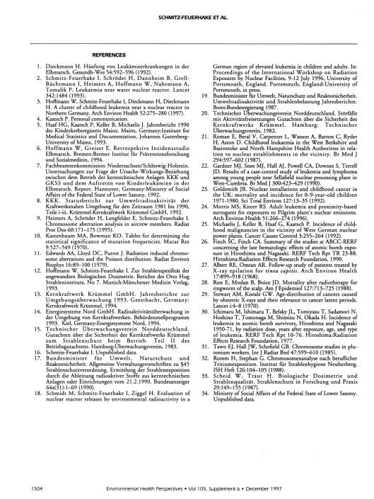 Leukemi Kromosomer Schmitz-Feuerhake et.  al.  EHP v. 105 December 97, s.  5