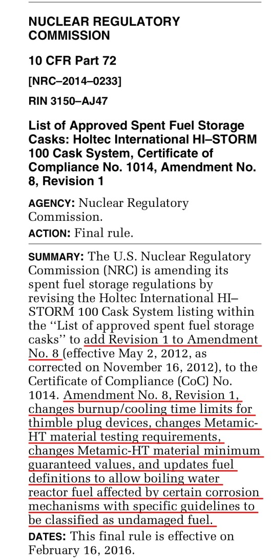 Holtec Amendment 8 Revision 1 Federal Register