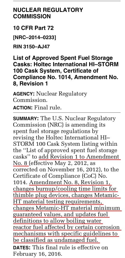 Holtec Amendment 8 Revision 1 Federal Register