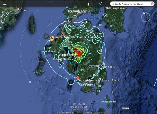 Japan earthquakes 15 April 2016 nearby nuclear reactors