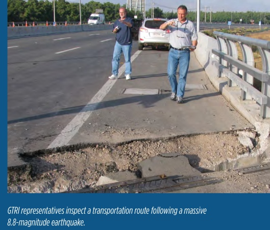 highway damage Chile from 8.8 earthquake during removal of nuclear waste