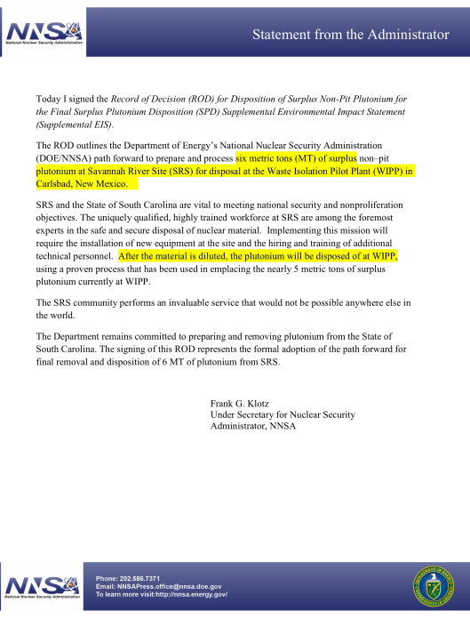 Frank Klotz letter  to send Pu to WIPP March 29 2016