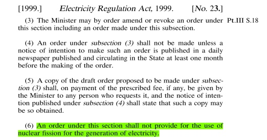 Ireland No Nuclear Power Station law 1999