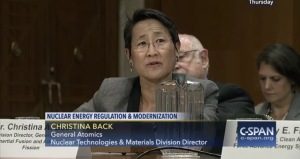 Christina Back General Atomics c-span 21 april 2016 nuclear deregulation