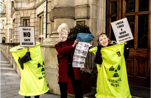 Protesters picketed the entrance of the nuclear new build forum at Whitehall in London this morning SWAN