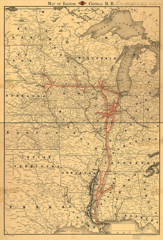 Illinois Central RR historic map