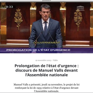 PM Valls State of Emergency French Parliament Nov. 2015