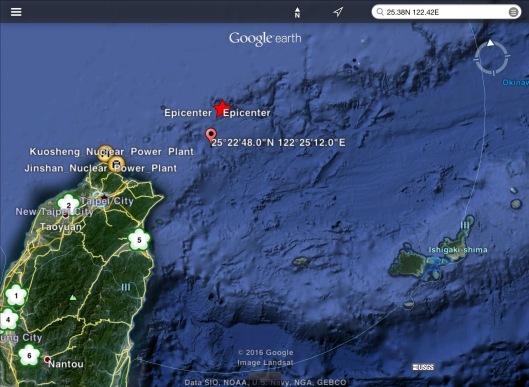 USGS Map Taiwan earthquake 6.4; coordinates of Taiwan M 7.2