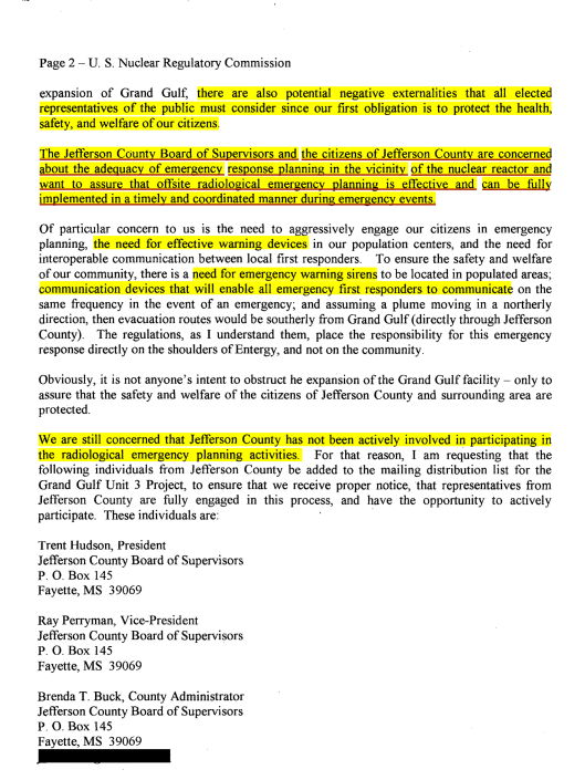 ML082190563, Jefferson Co supervisors letter re Grand Gulf Nuclear p. 2