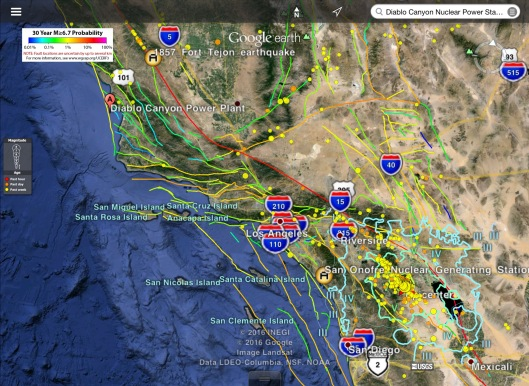 Earthquakes Hazard, 5 -11 June 2016 quakes, Diablo-San Onofre Nuclear,  Fort Tijon quake