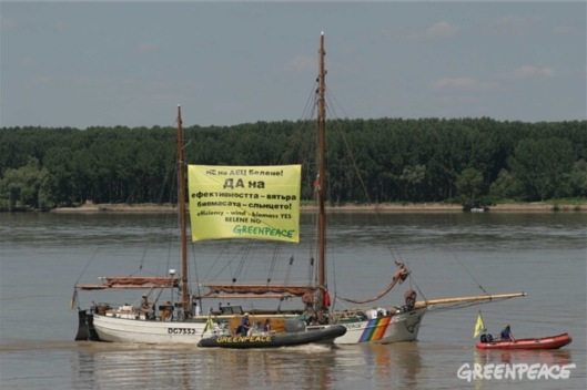 The Greenpeace SV Anna at the Belene site - (c) Greenpeace / Prochazka