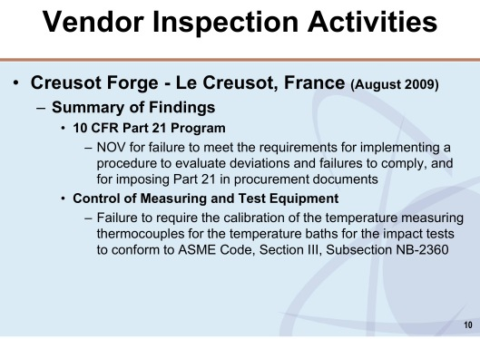 NRC Vendor Inspection Le Creusot summary of findings