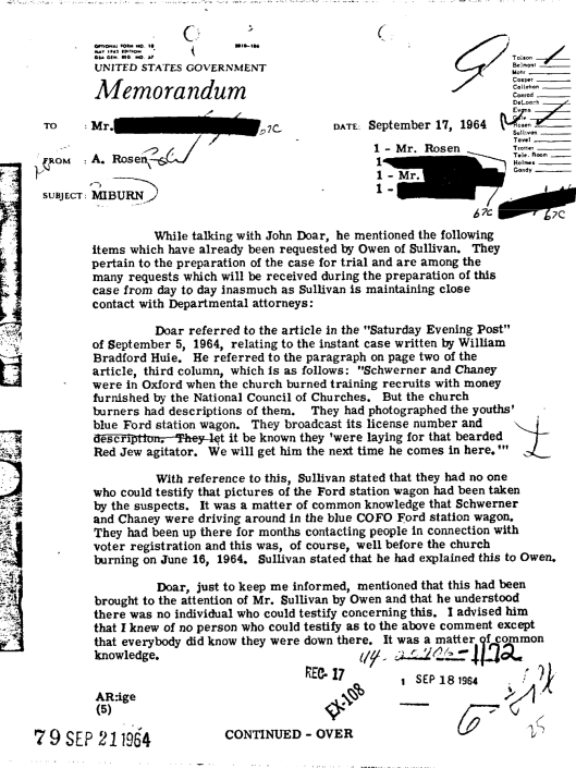 Mississippi Burning FBI page on National Council of churches, etc.
