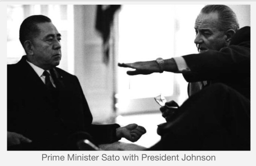 Japan PM Sato with President Johnson