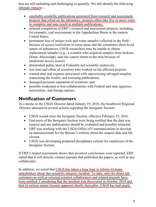 SCIENTIFIC INTEGRITY INCIDENT AT  USGS ENERGY GEOCHEMISTRY LABORATORY , p. 8