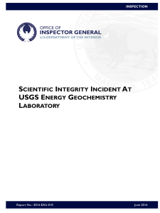 SCIENTIFIC INTEGRITY INCIDENT AT  USGS ENERGY GEOCHEMISTRY LABORATORY  cover june 2016