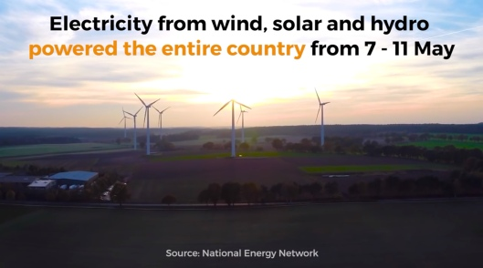 Greenpeace Portugal electricity from wind, solar, hydro for 4 days May 2016