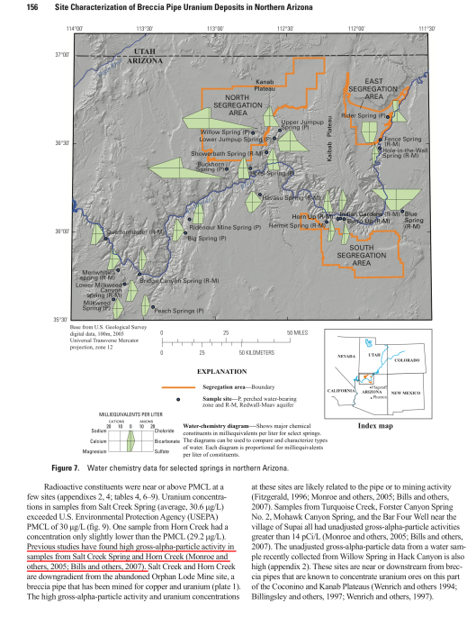 Hydrological, Geological, and Biological Site Characterization of Breccia Pipe Uranium Deposits in Northern Arizona, p. 156