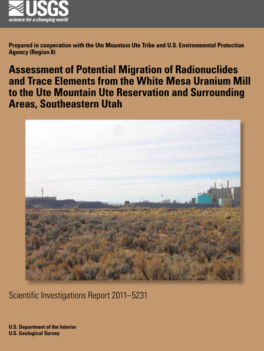 Assessment of Potential Migration of Radionuclides and Trace Elements from the White Mesa Uranium Mill to the Ute Mountain Ute Reservation and Surrounding Areas, Southeastern Utah  cover