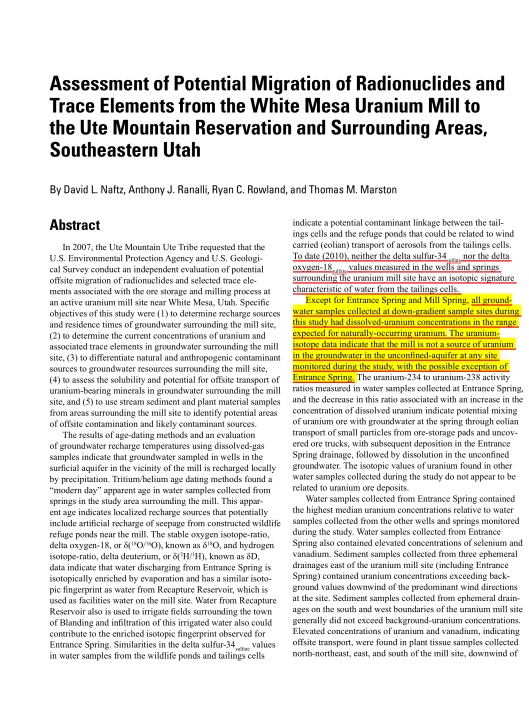 Assessment of Potential Migration of Radionuclides and Trace Elements from the White Mesa Uranium Mill to the Ute Mountain Ute Reservation and Surrounding Areas, Southeastern Utah , abstract