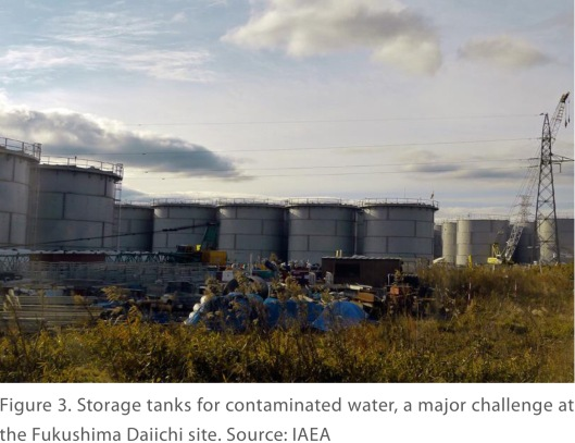Figure 3. Storage tanks for contaminated water, a major challenge at the Fukushima Daiichi site. Source: IAEA Via NASA